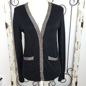 Metallic silver trimmed cardigan sweater medium
